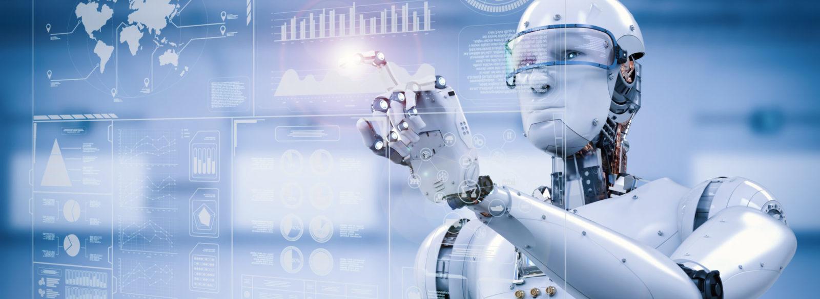 Image de synthèse d'un robot anthropoïde travaillant sur une interface holographique.